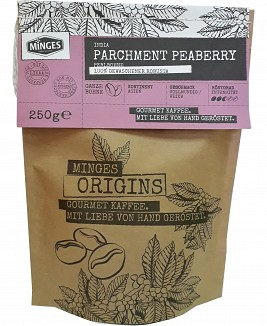 MINGES Parchment Peaberry India, kawa ziarnista, 250g - 100% ROBUSTA